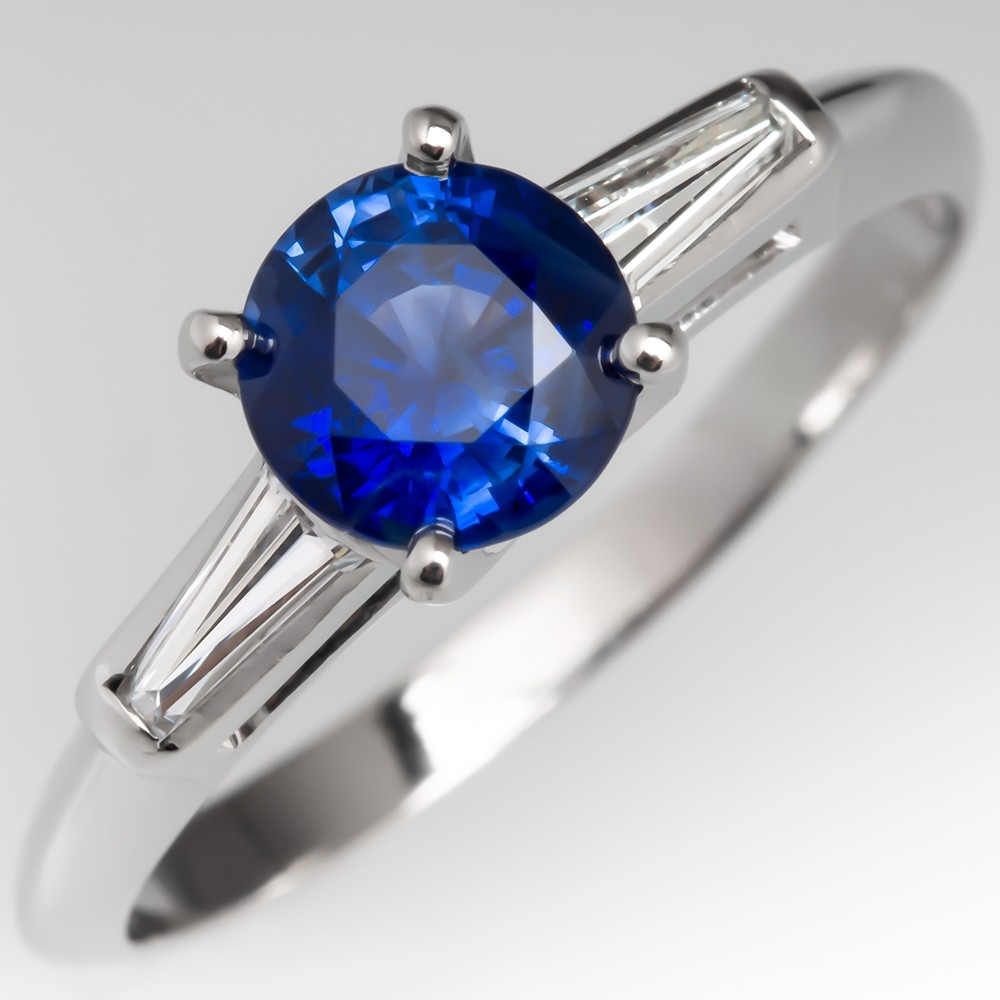 Stunning Blue Sapphire & Tapered Baguette Diamond Engagement Ring Platinum
