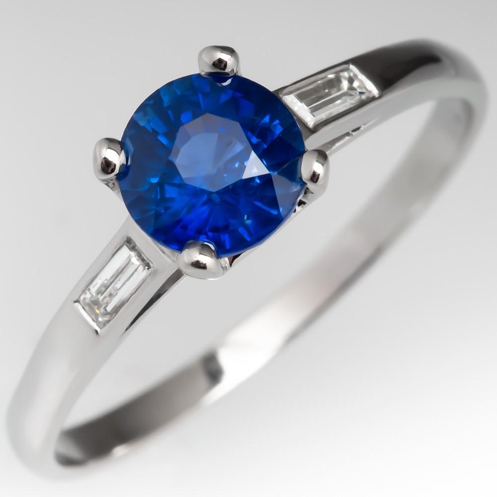 Rich Velvety Blue Sapphire Engagement Ring Flush Baguette Diamond Band