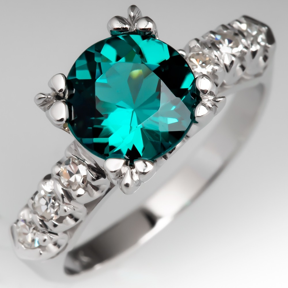 Green-Blue Tourmaline Engagement Ring 1960's Diamond Mount 14K
