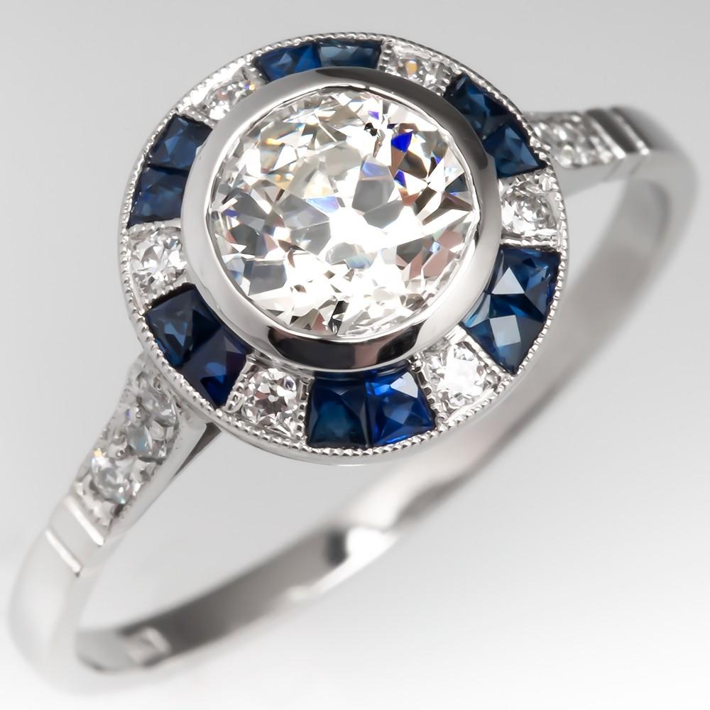 Old Euro Diamond & Blue Sapphire Engagement Ring Platinum