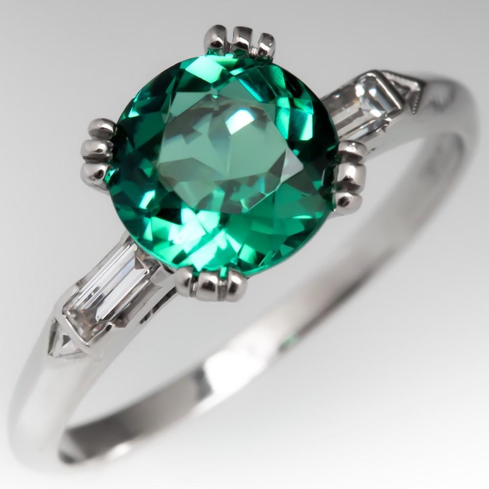 Green Tourmaline Engagement Ring Platinum Baguette Diamonds 1960's