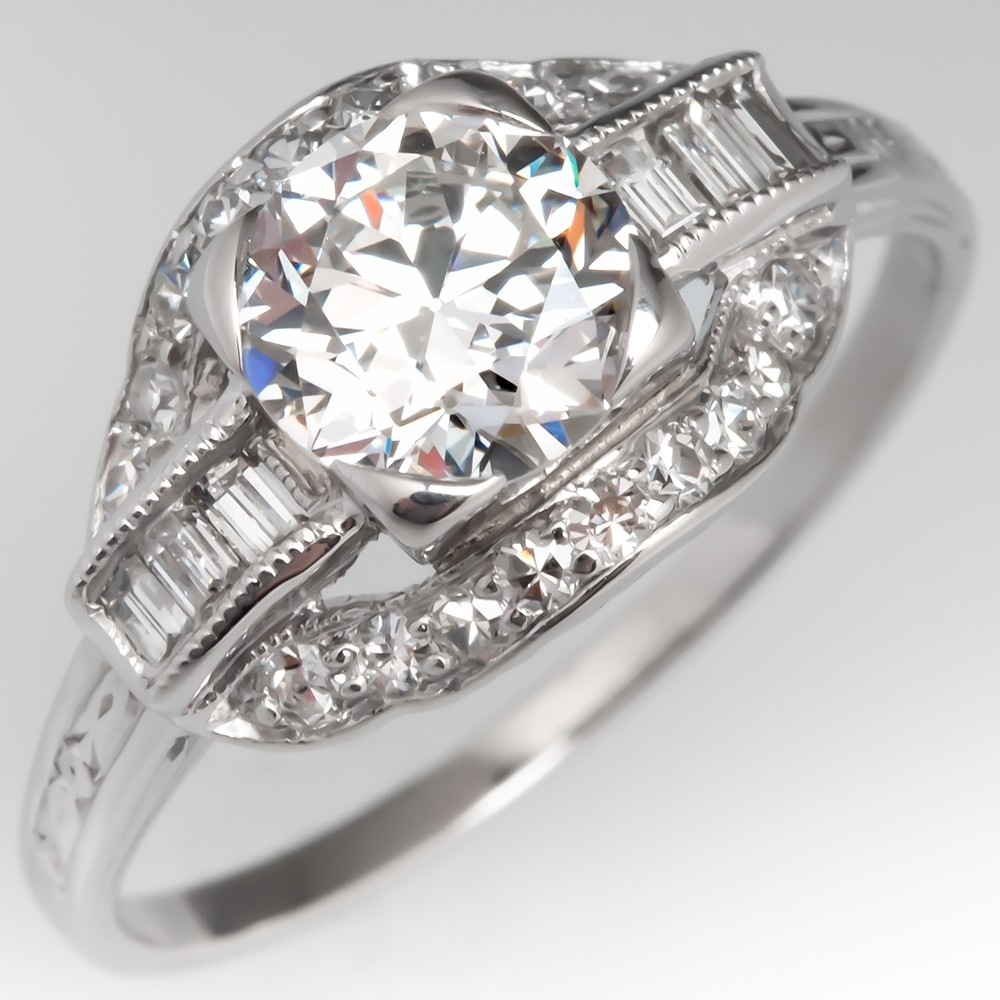 Beautiful Vintage Transitional Cut Diamond Engagement Ring Platinum GIA