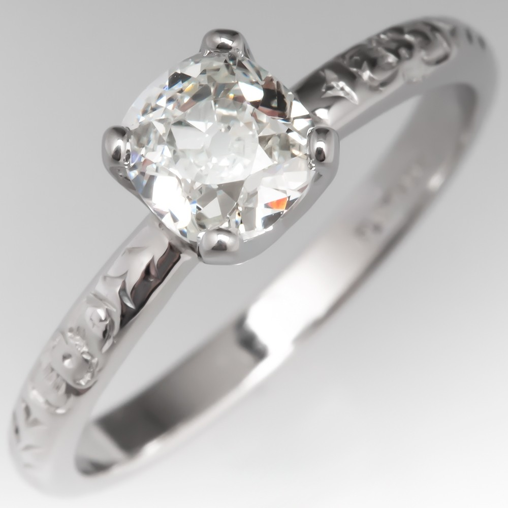 Old Mine Cut Diamond Solitaire Engagement Ring Antique Engraved Band
