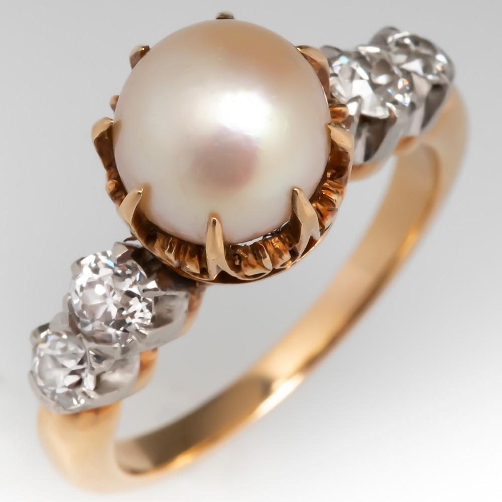 Circa 1900 Victorian Natural Pearl & Old Euro Diamond Ring GIA Cert