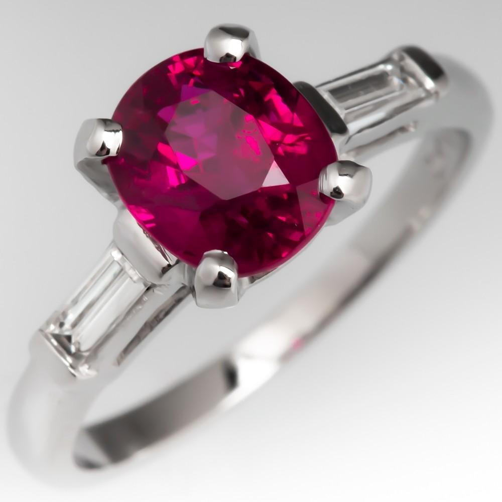 Vintage Purplish Red Ruby Engagement Ring Platinum Baguette Diamonds