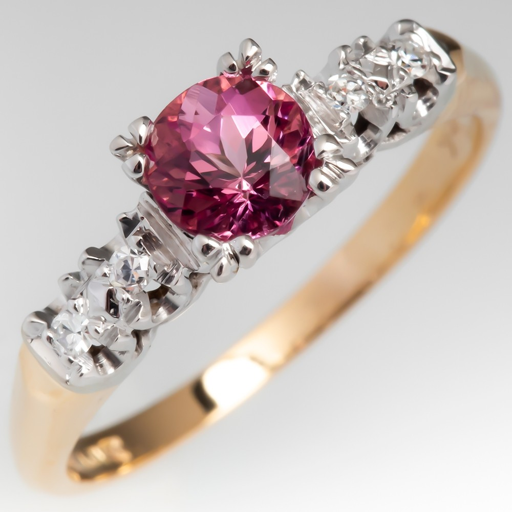 Untreated Orangey Pink Imperial Topaz Engagement Ring 14K