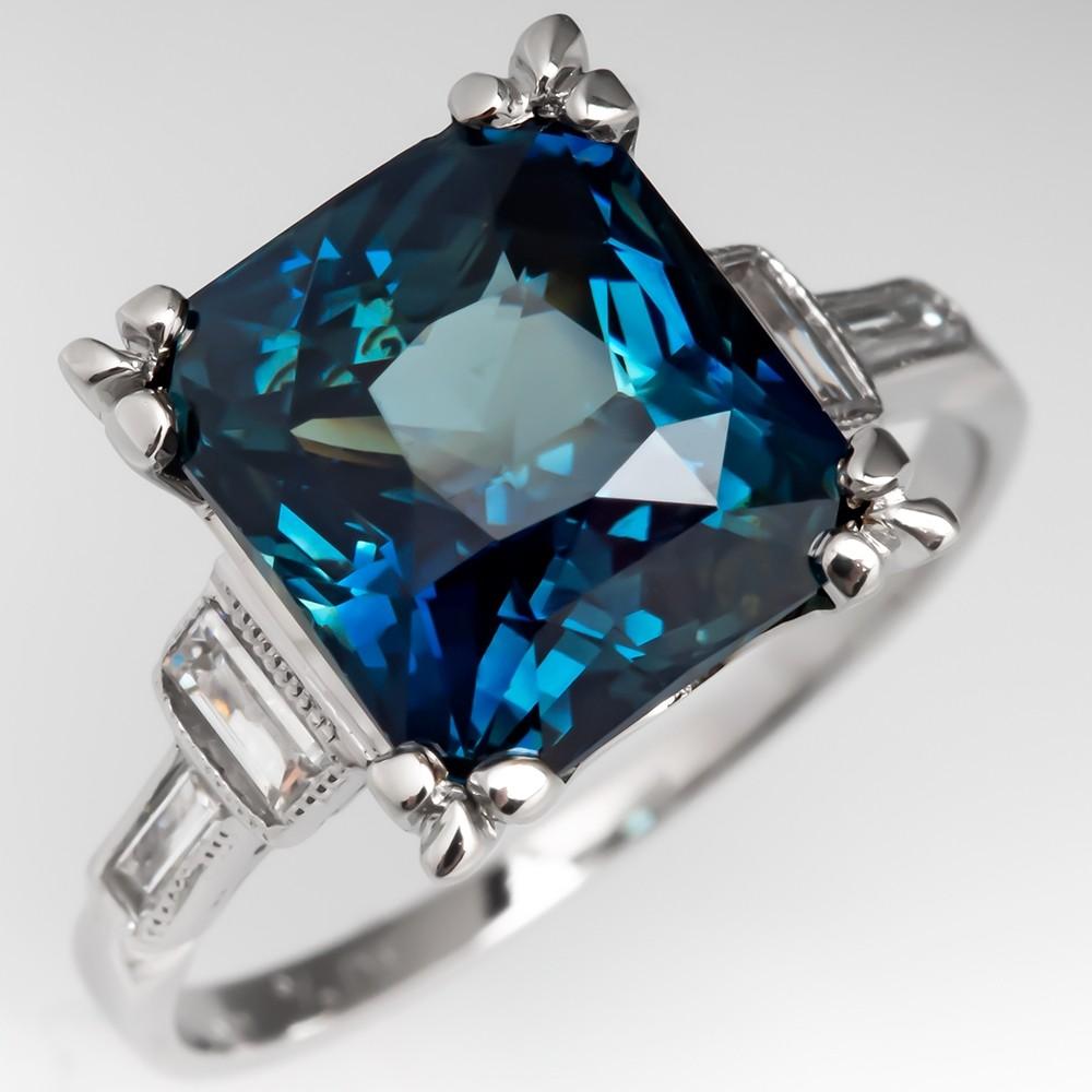 5 Carat Vivid Teal Sapphire Engagement Ring Platinum Baguette Diamonds