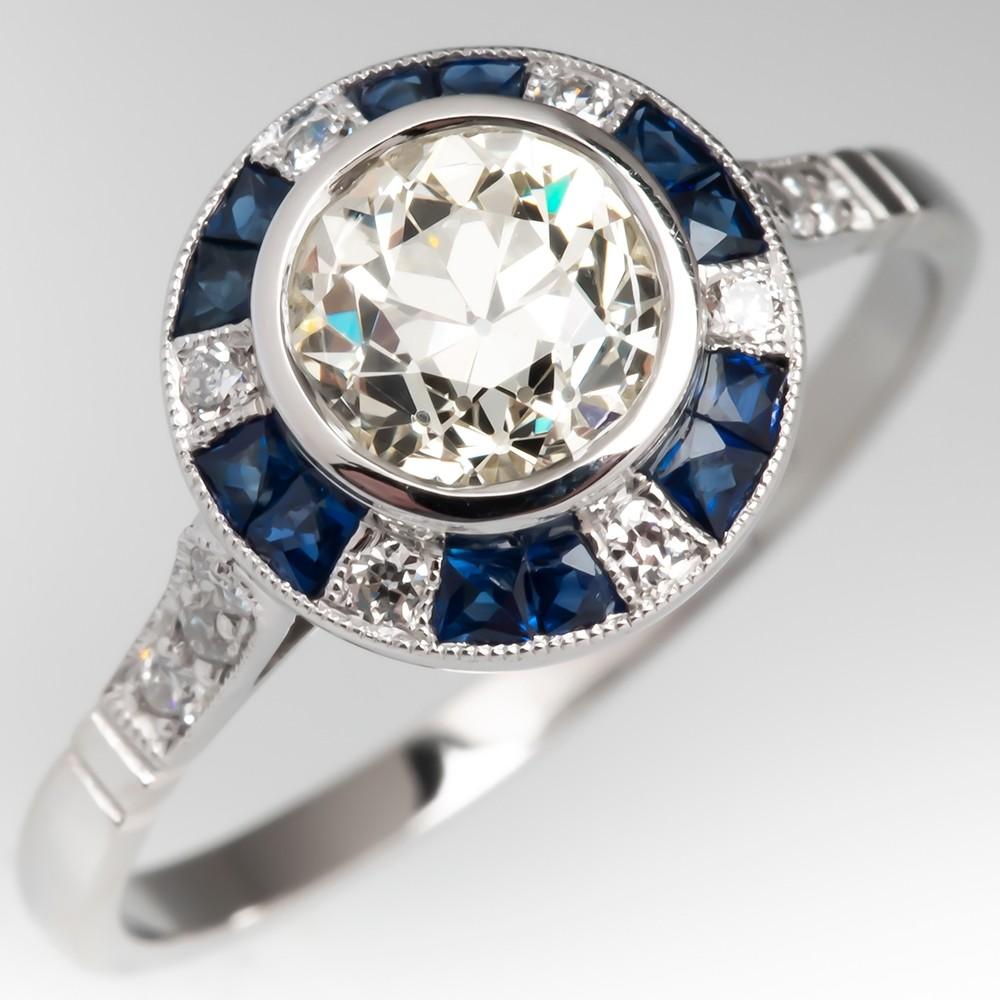 Old Euro Diamond & Sapphire Engagement Ring Platinum Halo