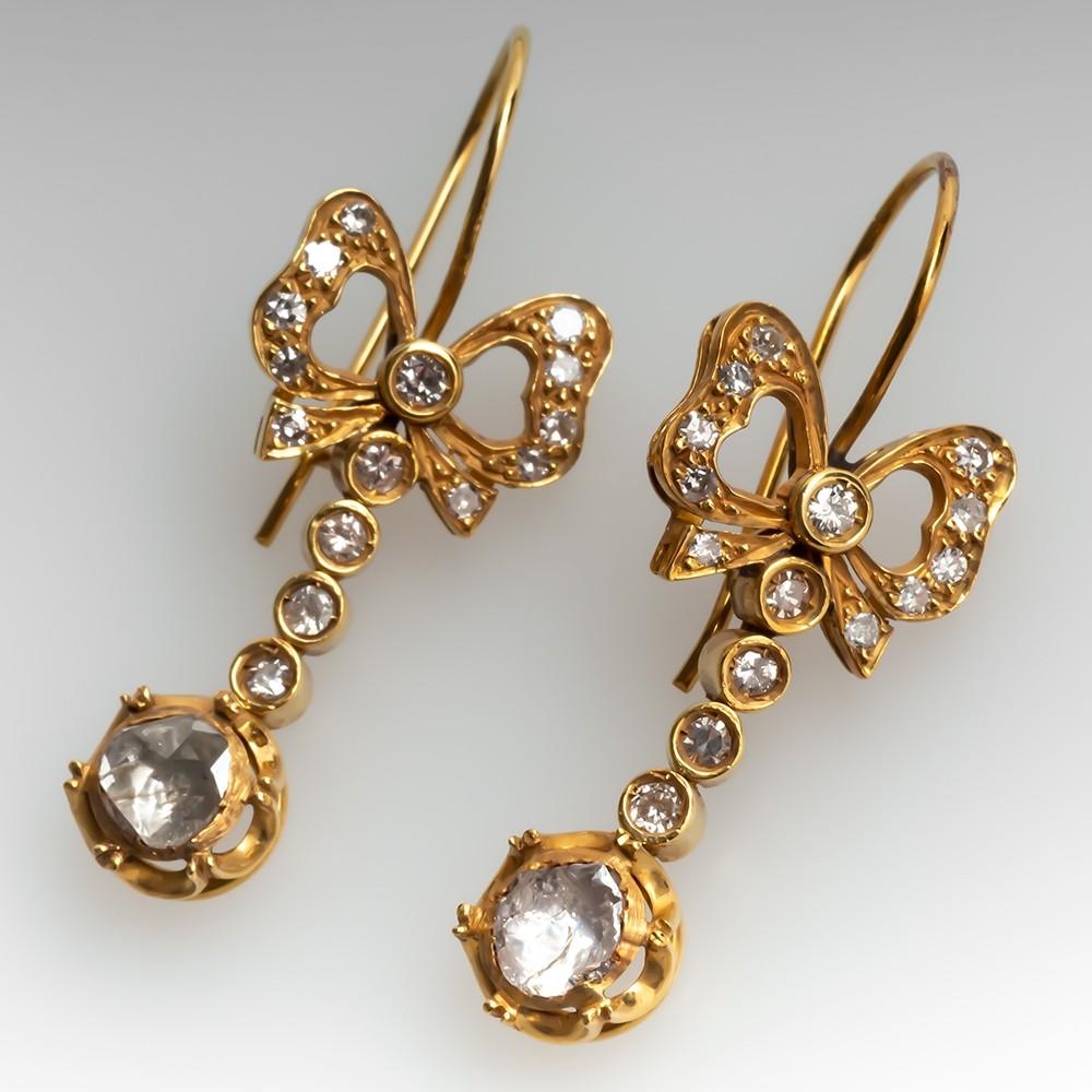 Circa 1900 Victorian Rose Cut Diamond Dangle Earrings 18K