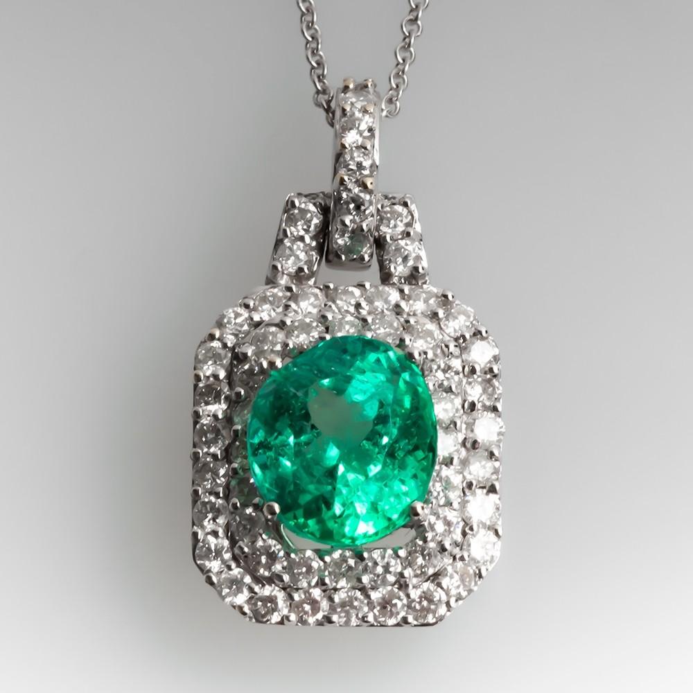 Stunning Emerald & Diamond Pendant Necklace 18K