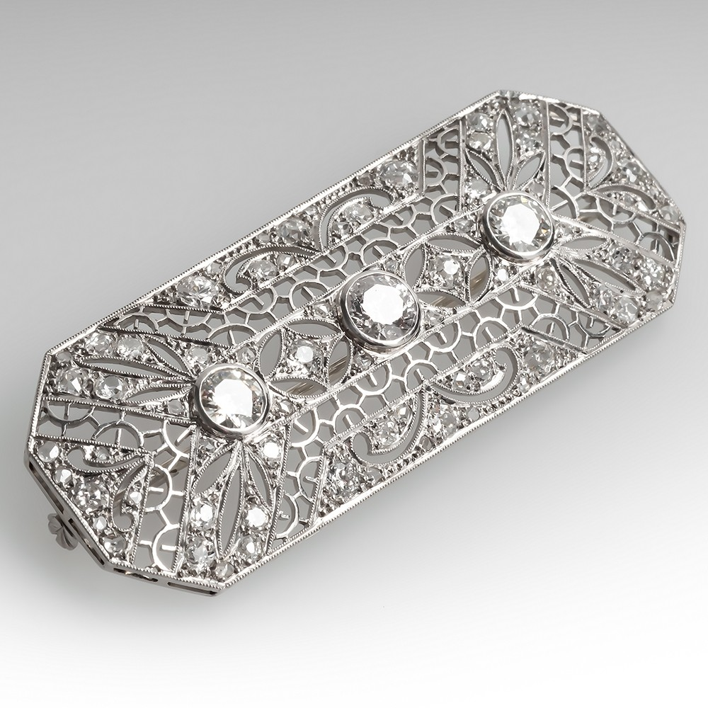 3.3 Carat 1930's Art Deco Ornate Filigree Diamond Brooch Pin Platinum
