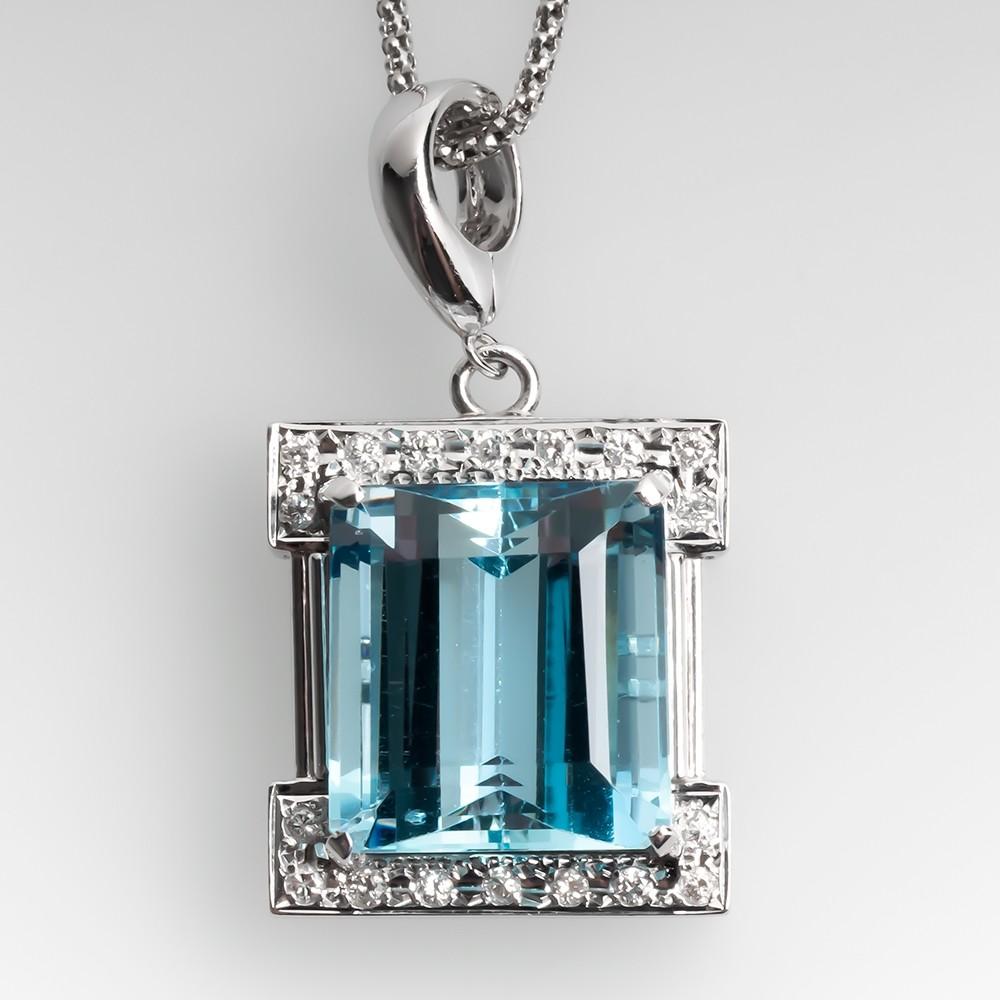 Aquamarine & Diamond Pendant Necklace Adjustable Chain Platinum