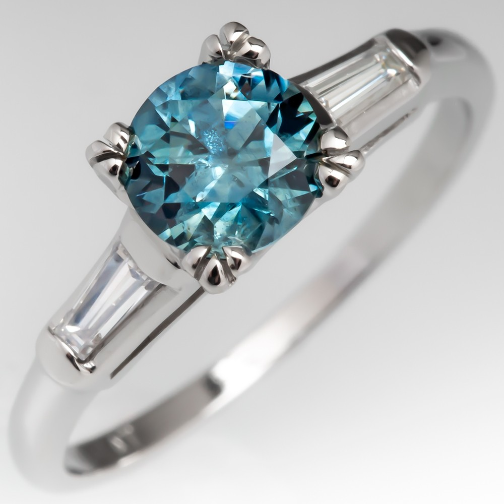 Montana Origin Sapphire Engagement Ring w/ Tapered Baguette Side Diamonds