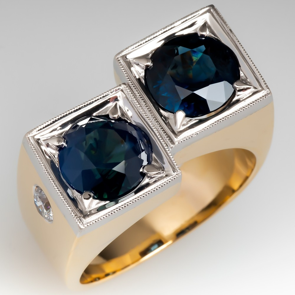 Bold Vintage Mens Ring Twin Blue-Green Sapphire Bypass 14K Gold