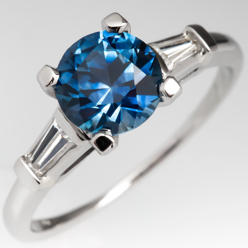 No Heat Montana Sapphire Engagement Ring w/ Tapered Baguette Diamonds