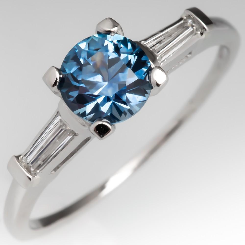 1 Carat Montana Sapphire Engagement Ring w/ Tapered Baguette Diamonds