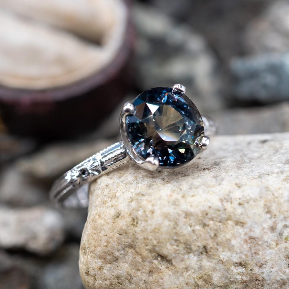 5 Carat No Heat Multi-Color Parti Sapphire Engagement Ring 18K Engravings