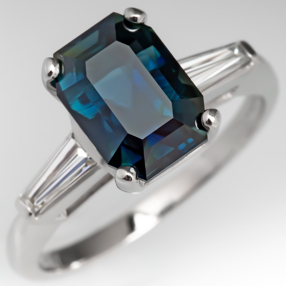 4.6 Carat Dark Teal Sapphire Engagement Ring Tapered Baguette Accents
