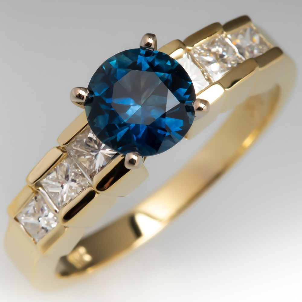 Blue-Green Montana Sapphire Engagement Ring 18K Yellow Gold