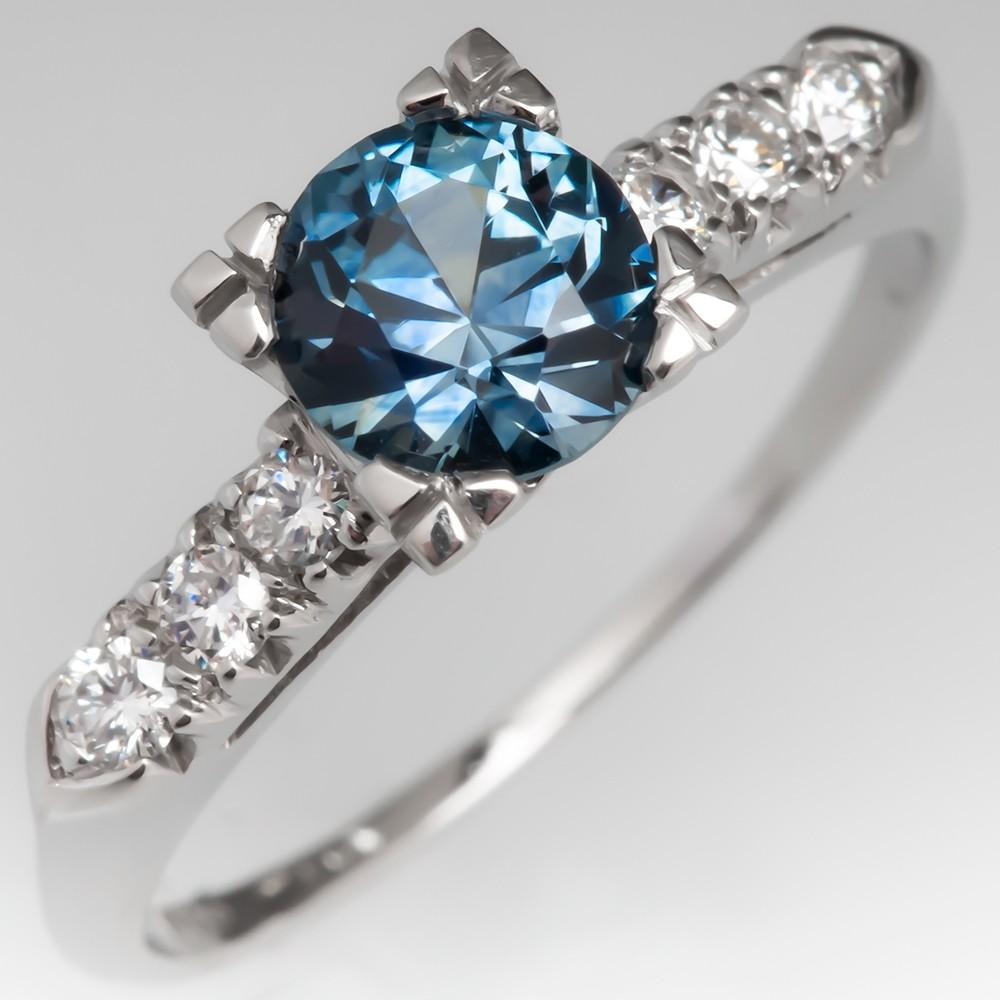 No Heat Montana Sapphire Engagement Ring 1950's Platinum Mount