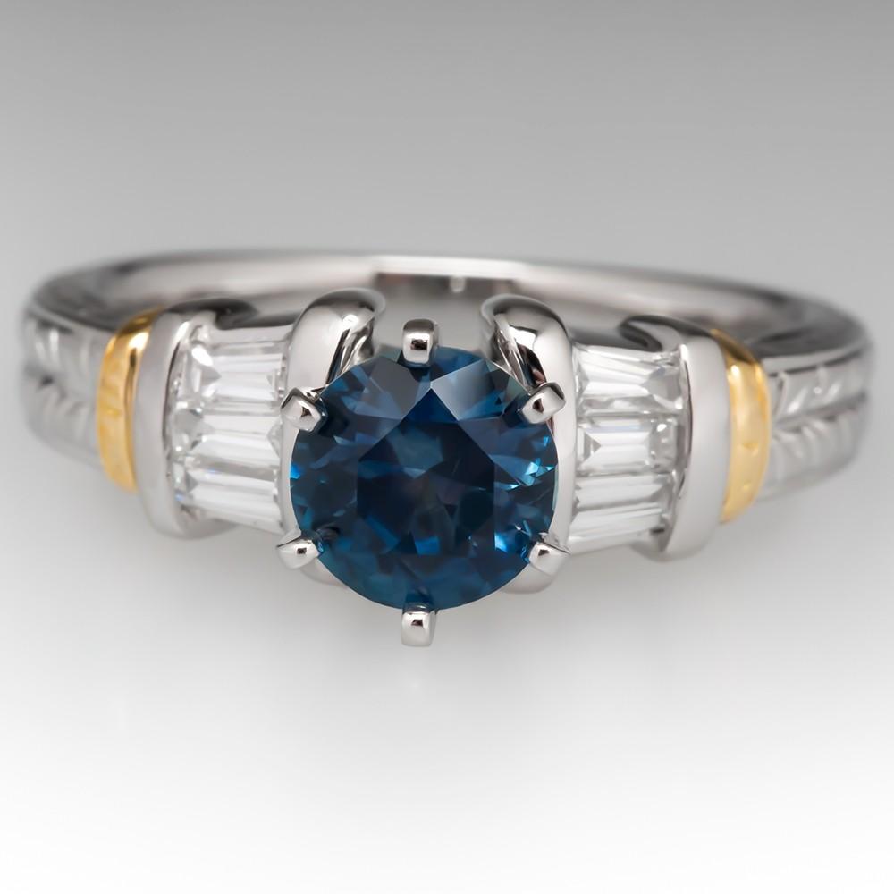 1 Carat Montana Sapphire Engagement Ring w/ Diamond Accents