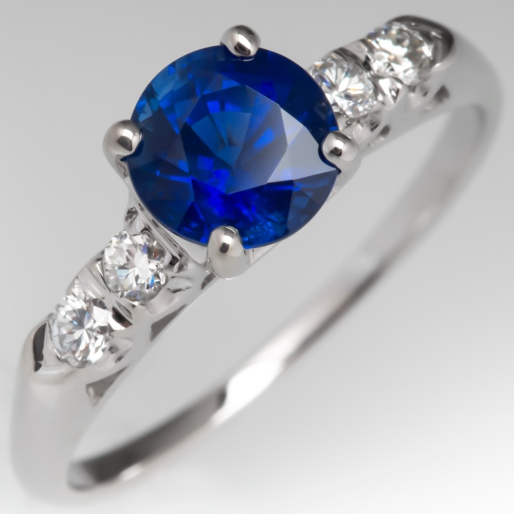 Vintage Blue Sapphire & Diamond Engagement Ring 14K White Gold