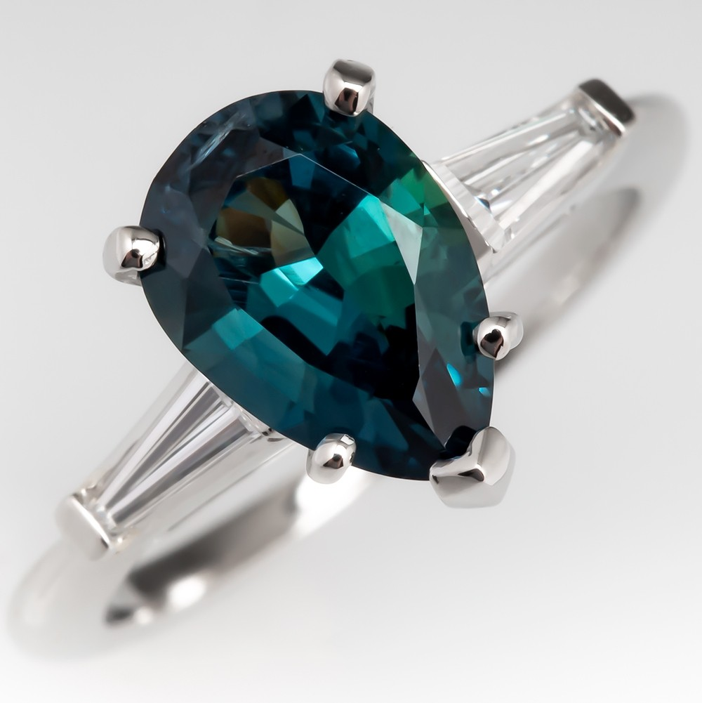 Pear Cut Blue Green Sapphire Engagement Ring Platinum