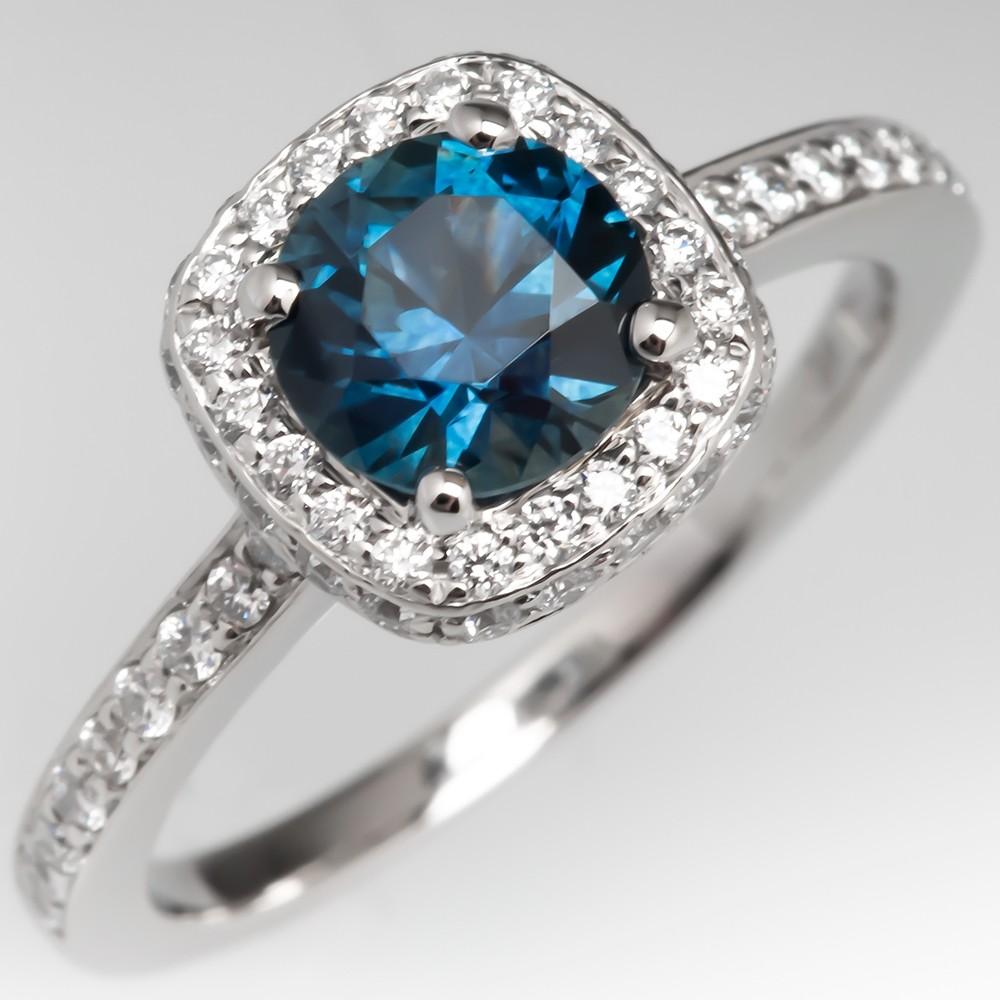 To Amanda, From Jacqueline Montana Sapphire & Diamond Halo Engagement Ring Platinum