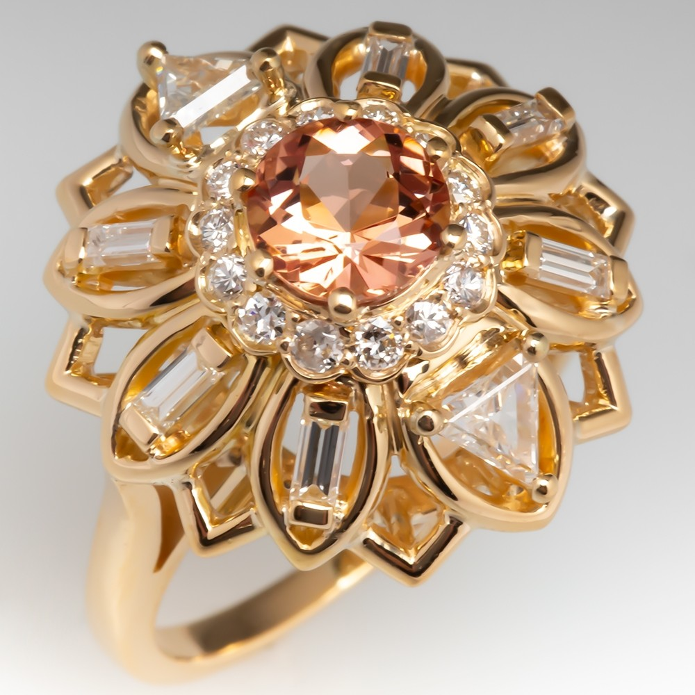 Imperial Topaz Cocktail Ring w/ Diamonds 14K Gold