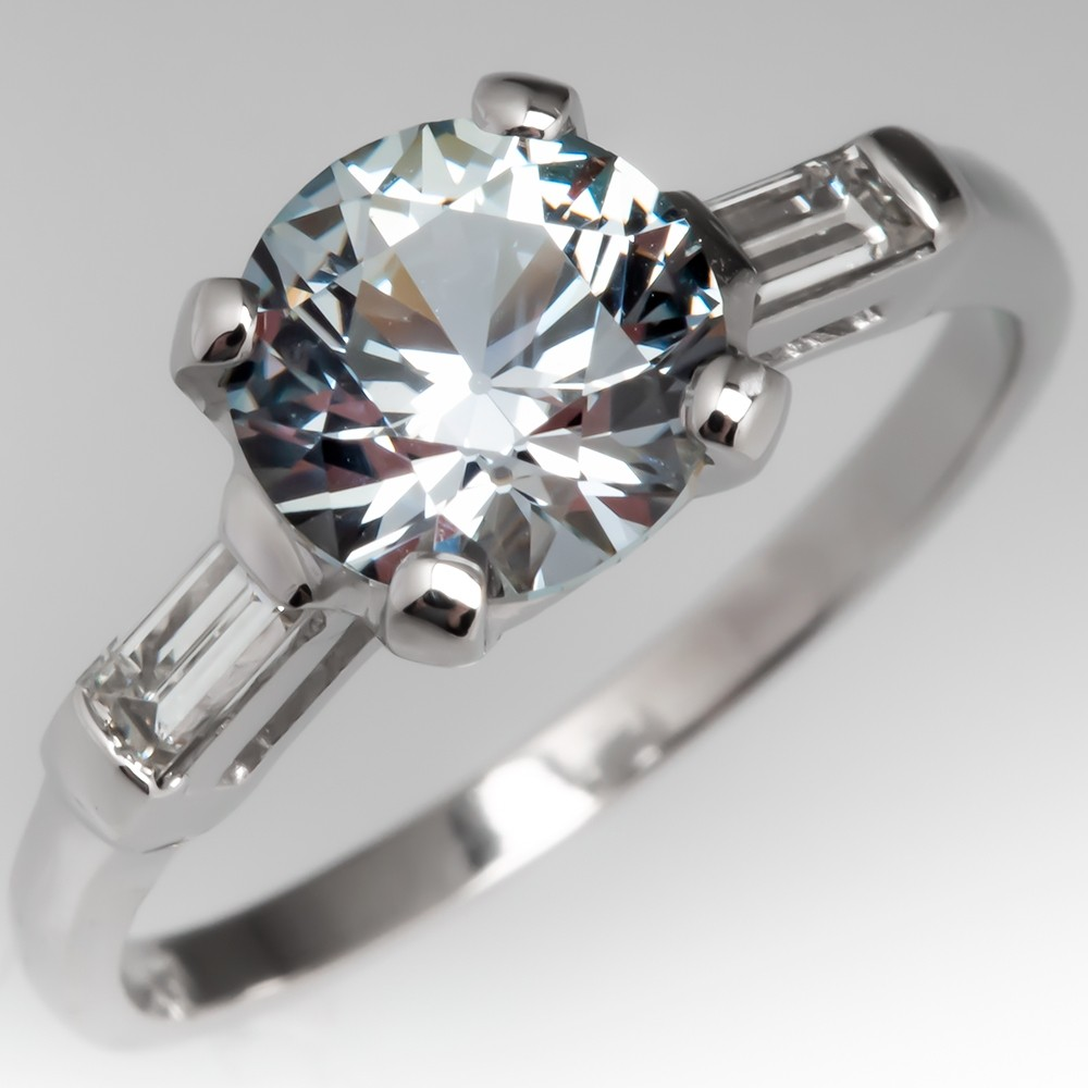 2 Carat No Heat Montana Sapphire Engagement Ring Platinum