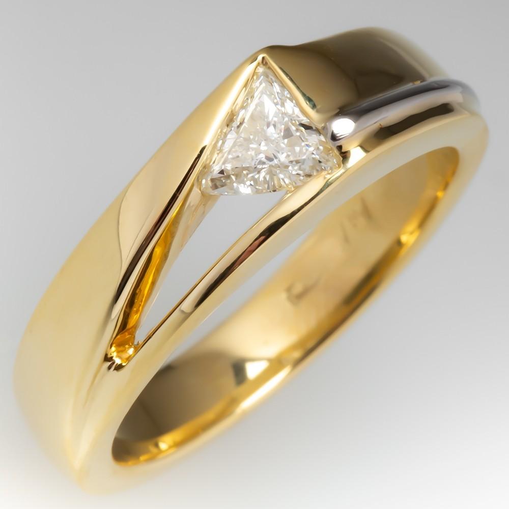 Mens Triangle Diamond Wedding Band Ring 18K Gold