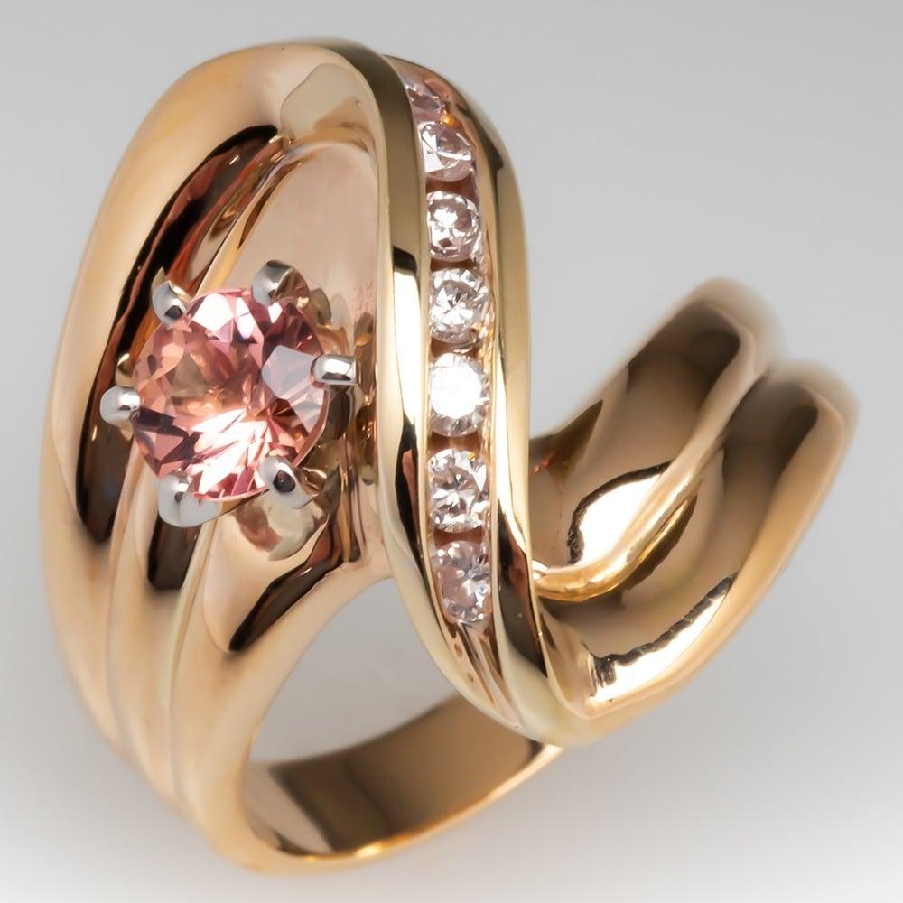 Orange Pink Natural Topaz & Diamond Vintage Ring 14K Gold