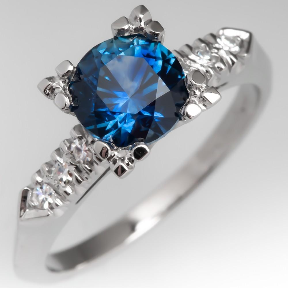 Montana Sapphire Engagement Ring 1950's Platinum Diamond Mounting