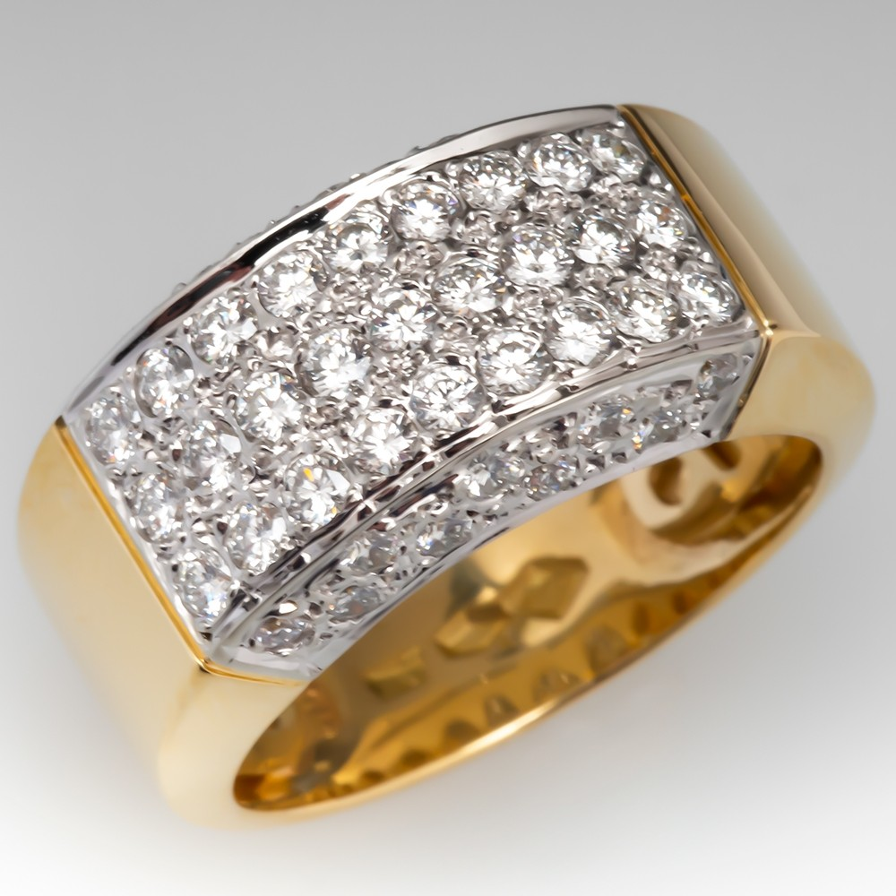 1 Total Carat Wide Band Diamond Cocktail Band Ring 18K Gold