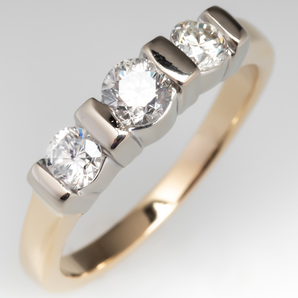 Three Stone Diamond Channel Set Ring 14K Gold