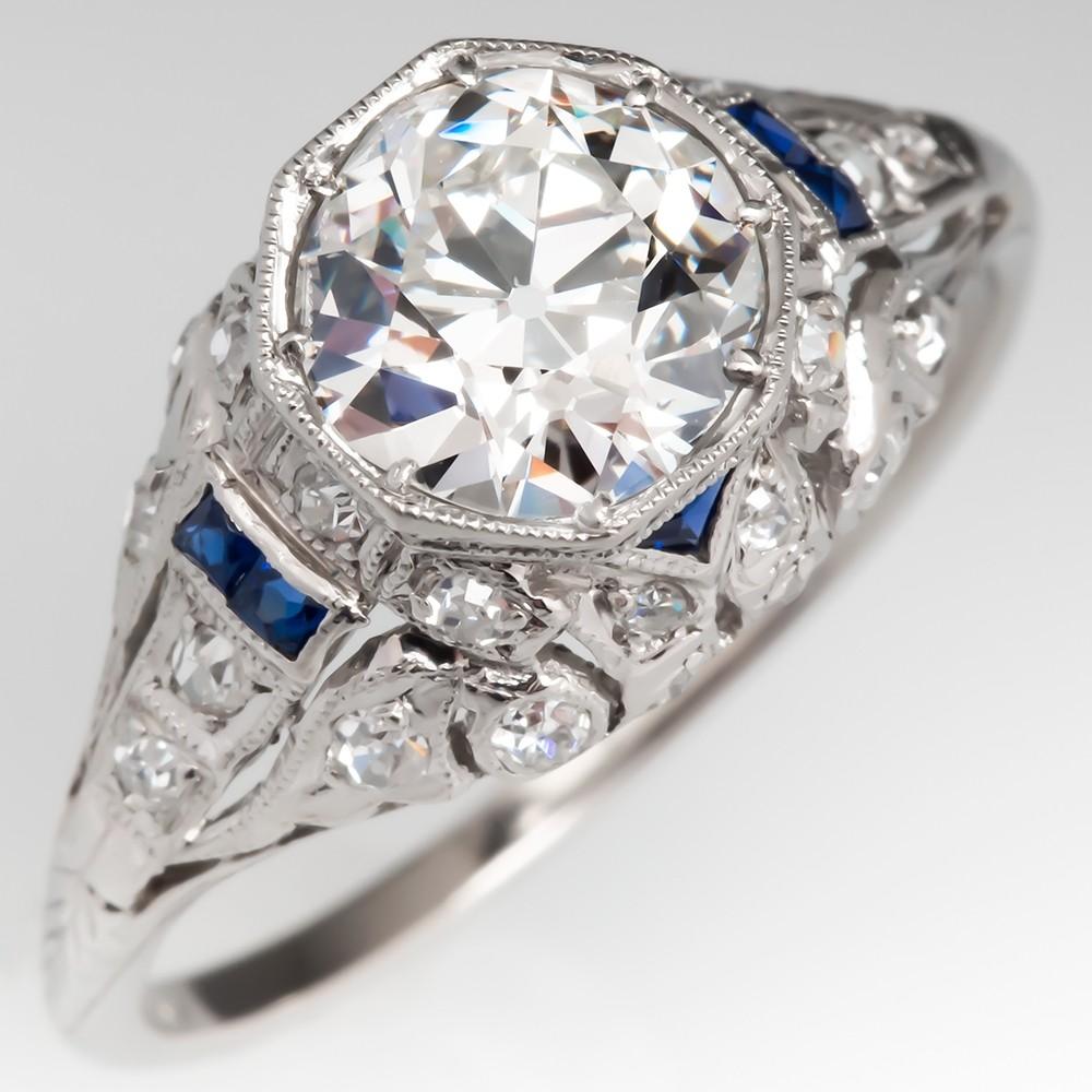 Art Deco Engagement Ring 1.4CT Old European Cut Diamond w/ Sapphire Accents