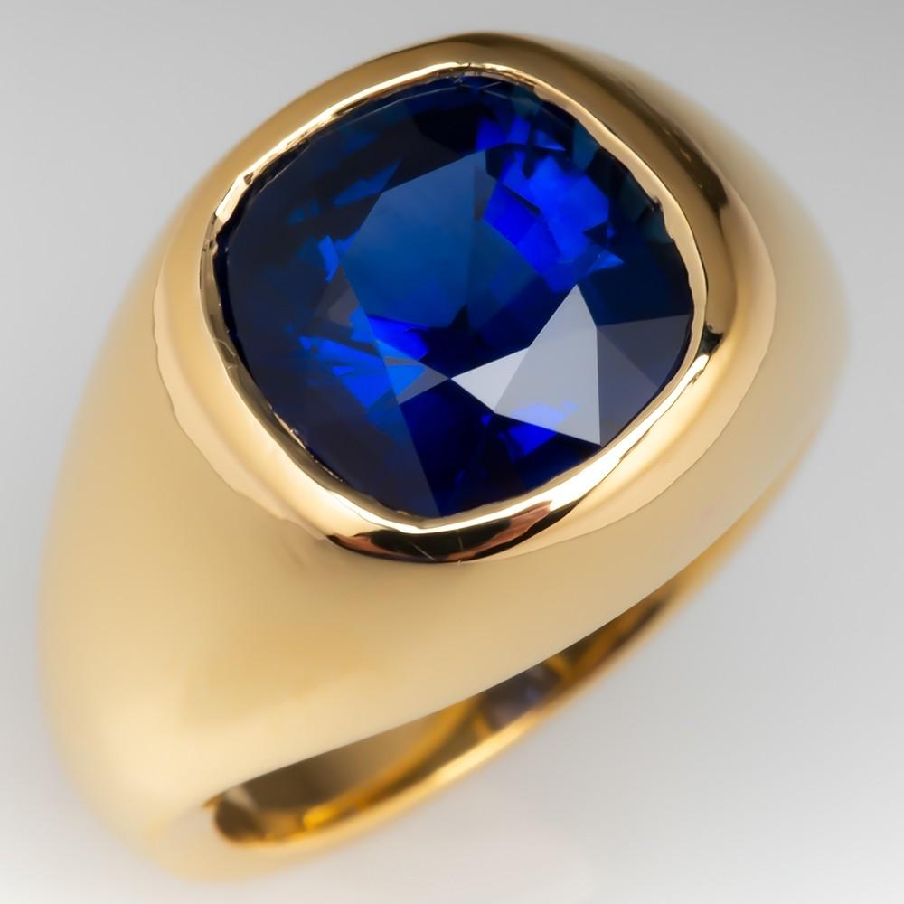 Amazing 4.7 Carat Blue Sapphire Bezel Ring 18K Yellow Gold