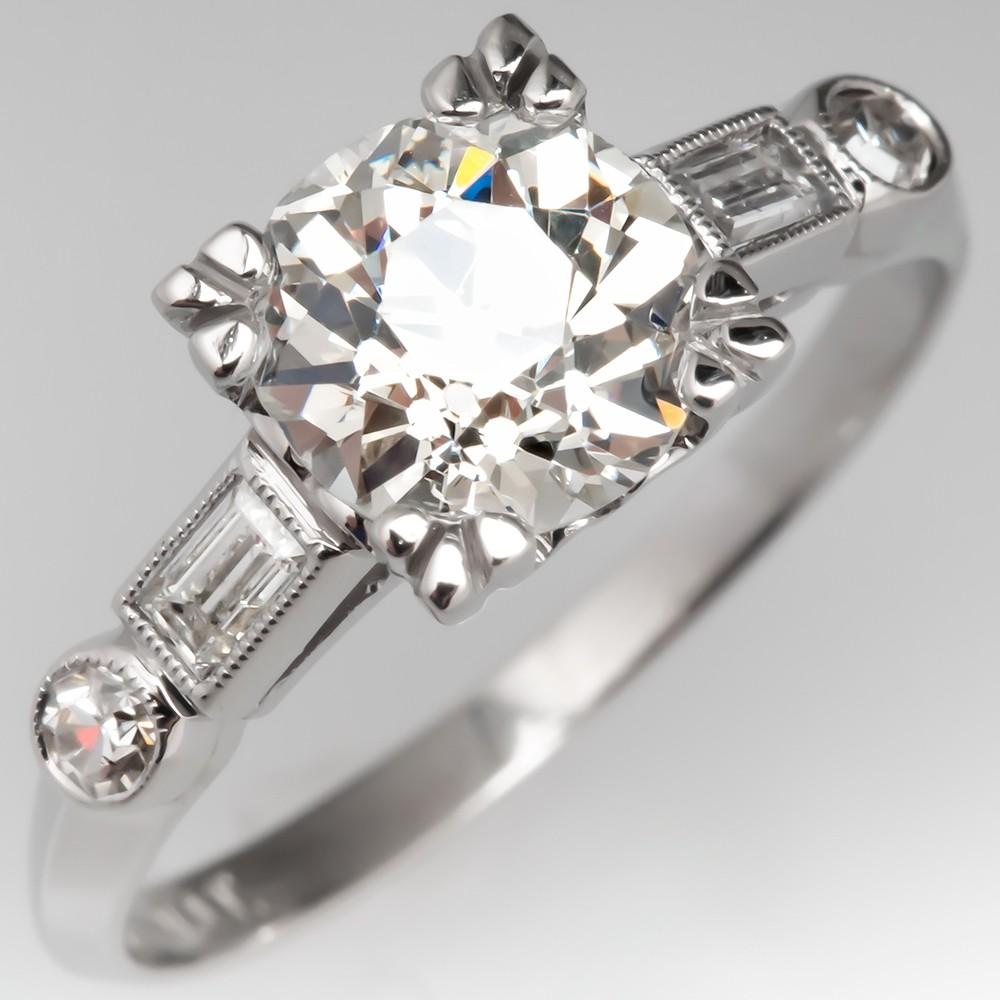 1930's Antique Engagement Ring 1.3 Carat Diamond