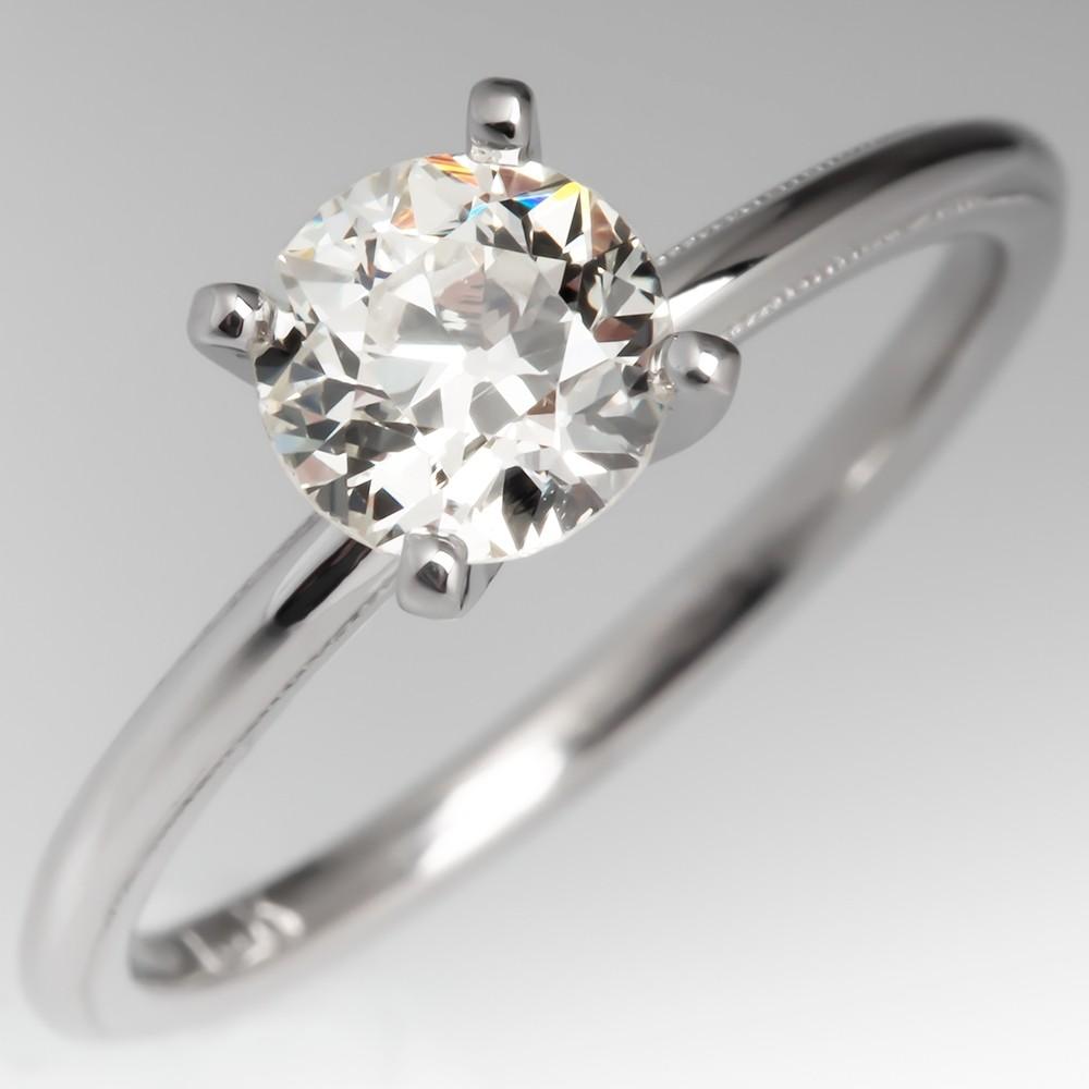 Antique Traub Orange Blossom Wedding Ring Set w/ Old Euro Diamond