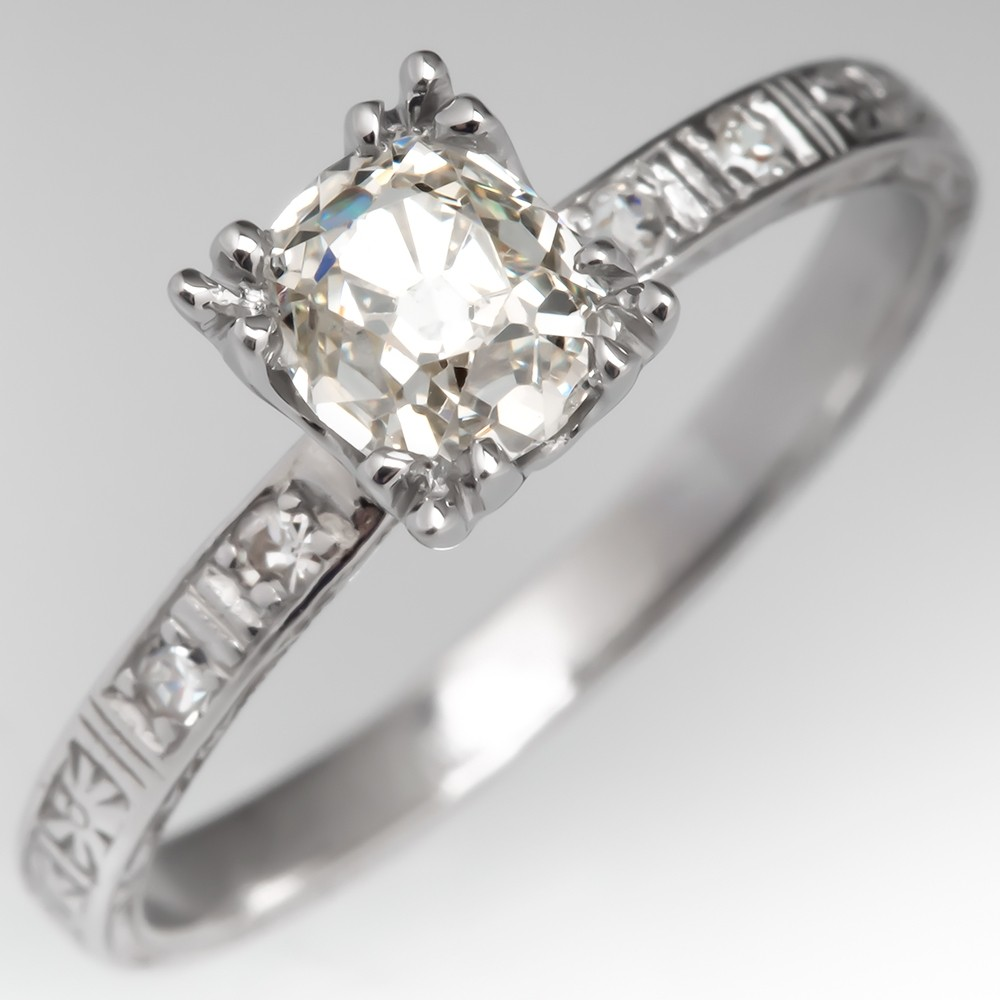 Old Mine Cut Diamond Engagement Ring Antique Engraved Band