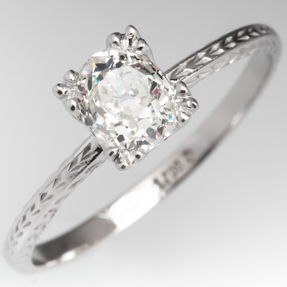 Old Mine Cut Diamond Solitaire Engagement Ring Vintage Engraved Band