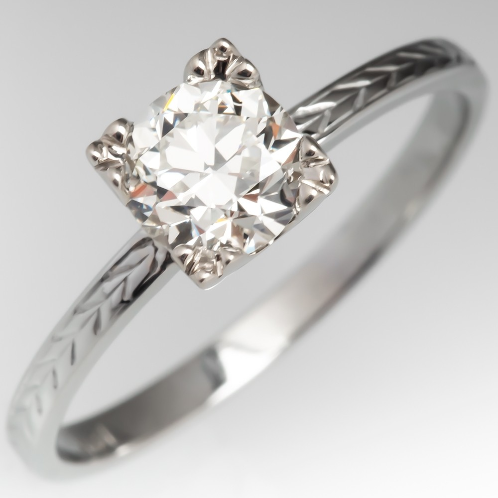 1940's Transitional Cut Diamond Engagement Ring Vintage Engraved Band