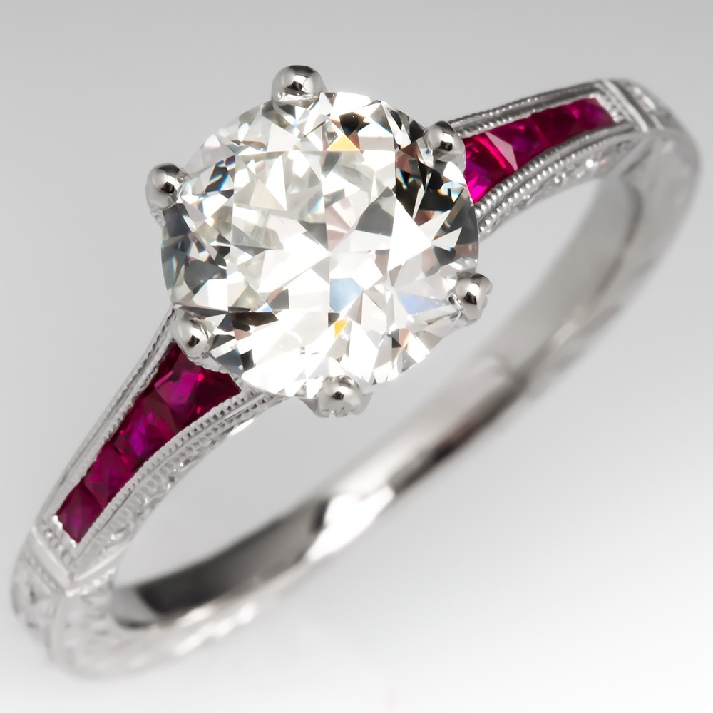 Transitional Cut Diamond Engagement Ring w/ Ruby Accents