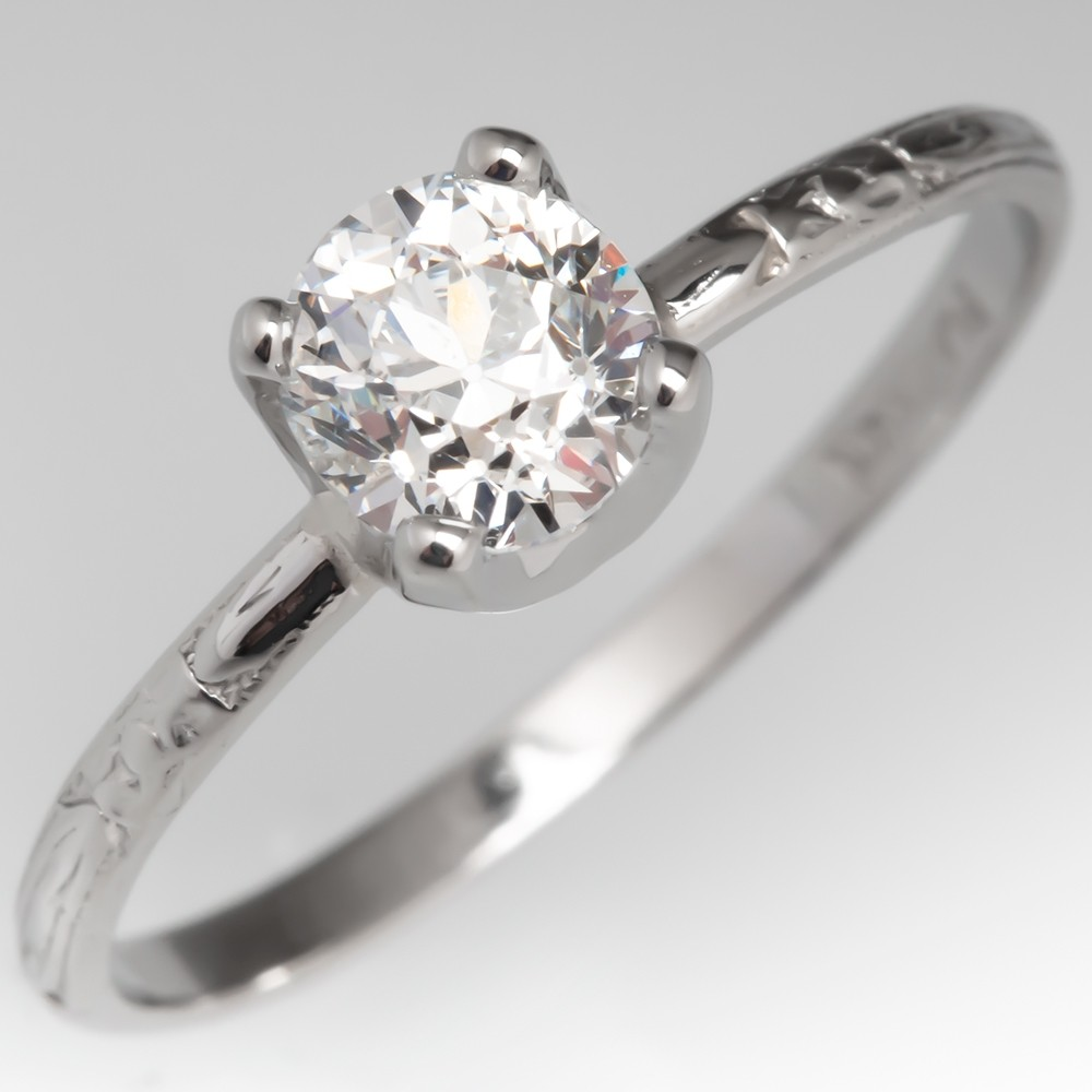 Old European Cut Diamond Solitaire Engagement Ring Antique Engraved Band