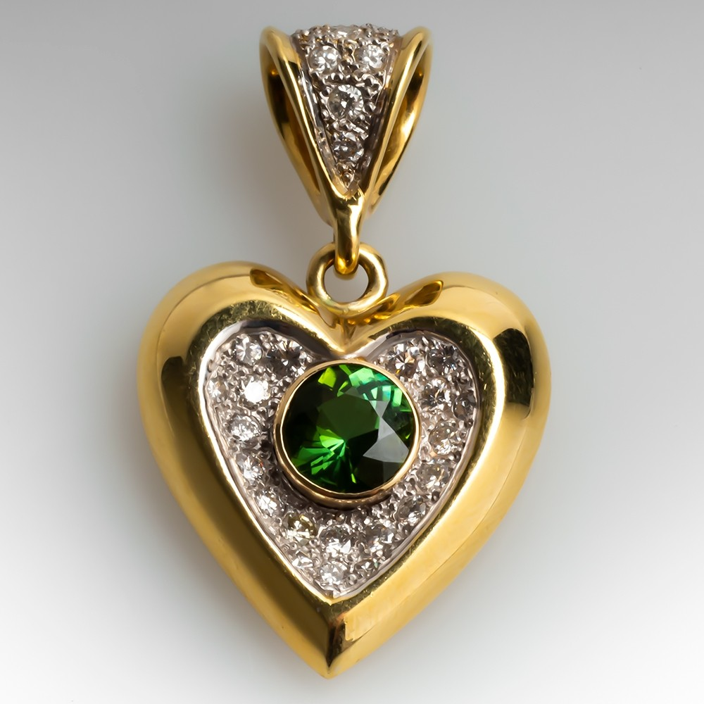 2 Carat Green Tourmaline & Diamond Heart Slide Pendant 18K Gold