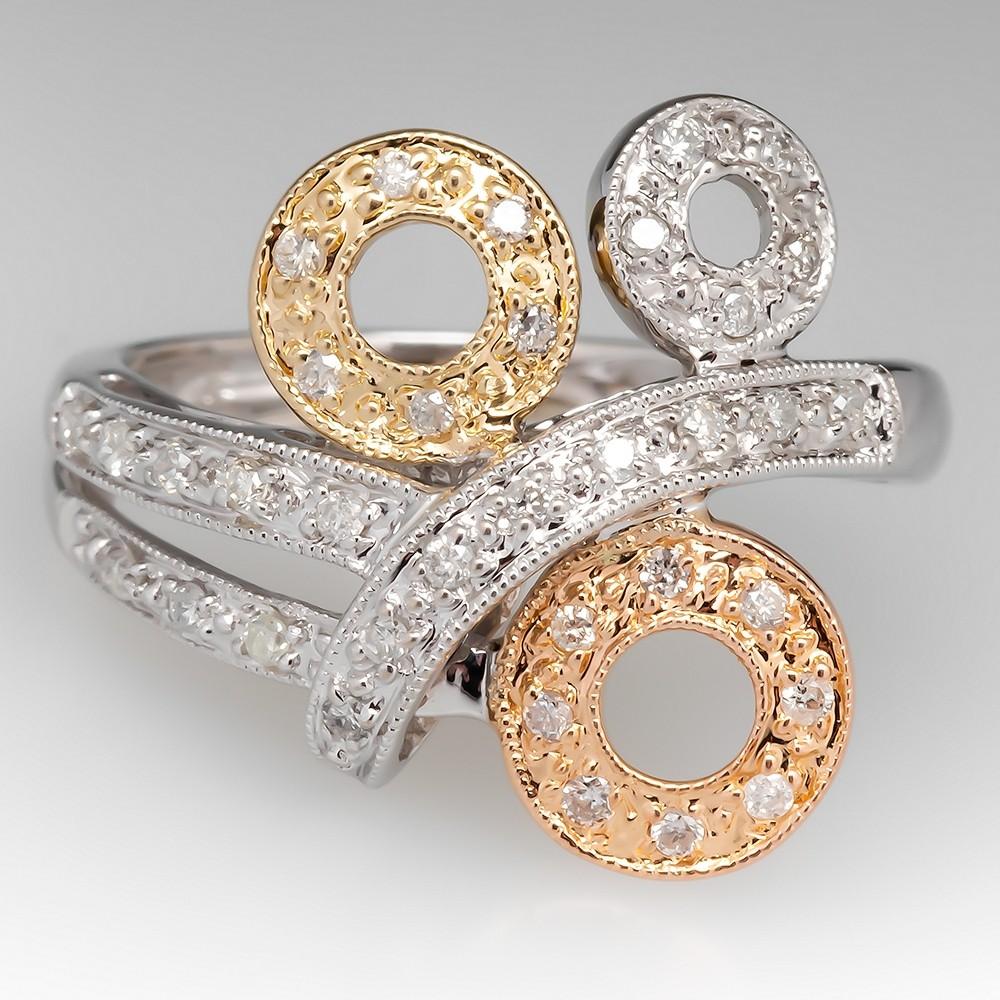 Contemporary Tri-Color Gold Diamond Ring 14K