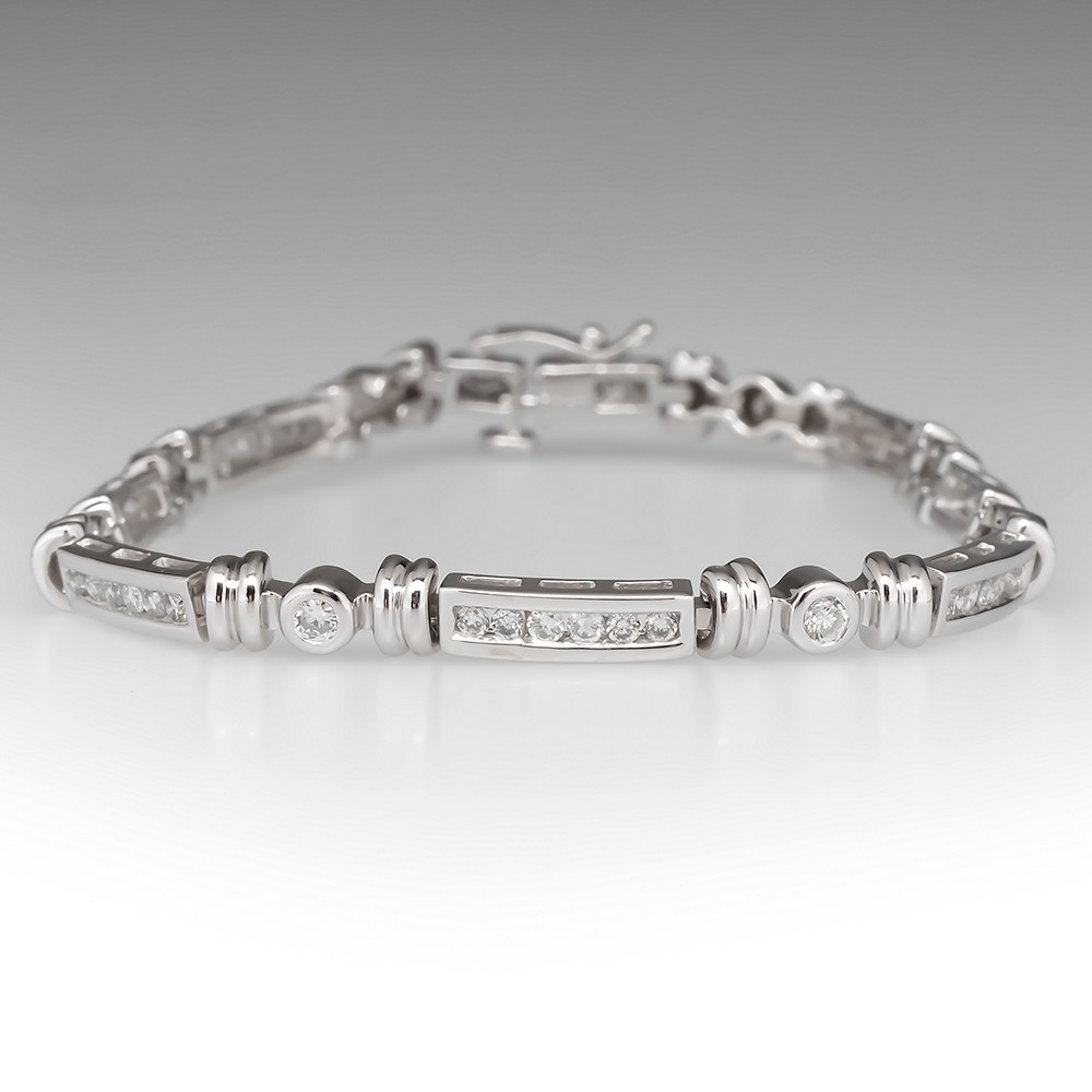 1.4 Total Carat Diamond Tennis Bracelet 14K White Gold