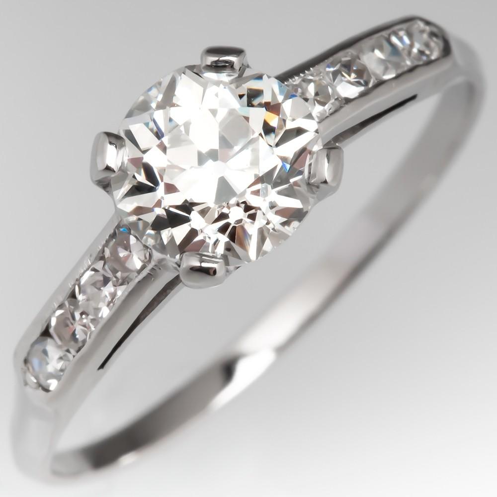 Beautiful Antique Engagement Ring Old Euro Diamond Platinum