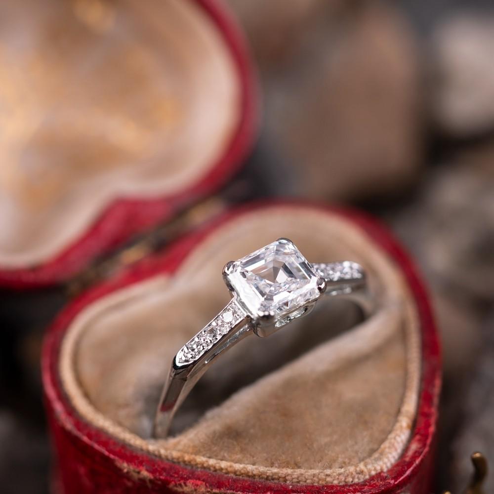 Vintage 1 Carat Square Emerald Cut Diamond Engagement Ring Platinum