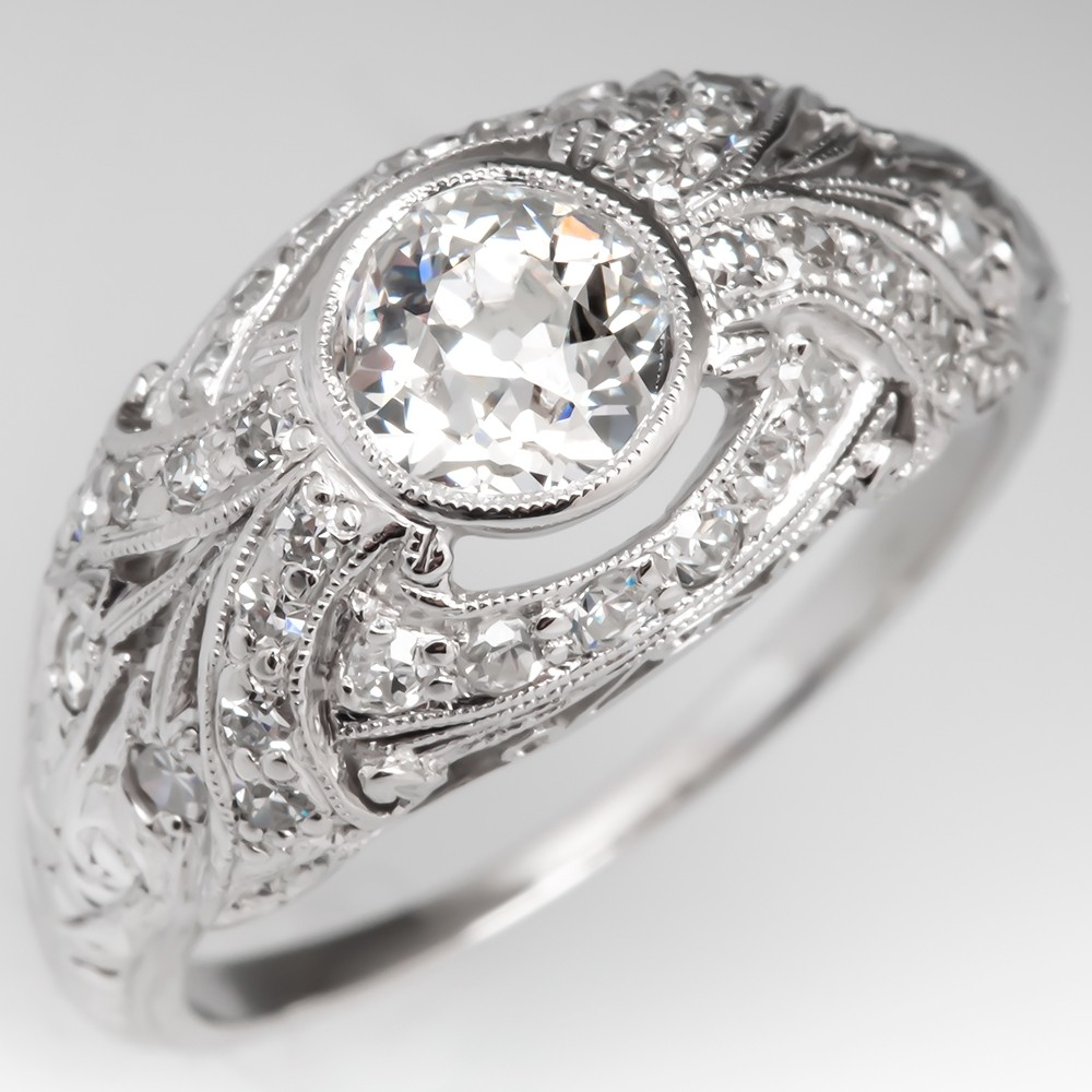 Filigree Old Euro Diamond Engagement Ring Platinum